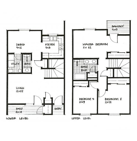 3 Bed 1.5 Bath 2 Level Rendering