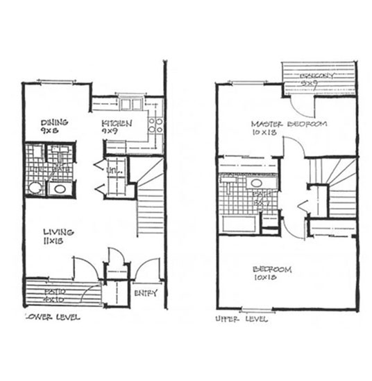 2 Bed 1.5 Bath 2 Level Rendering